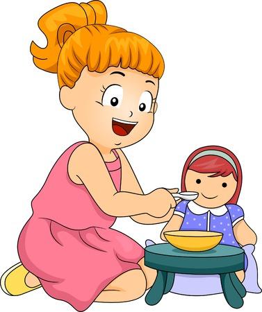 Illustratie van een klein meisje die haar pop Stock Illustratie