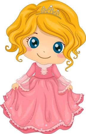 cute girl cartoon: Illustration of a Cute Little Girl Wearing a Princess Costume
