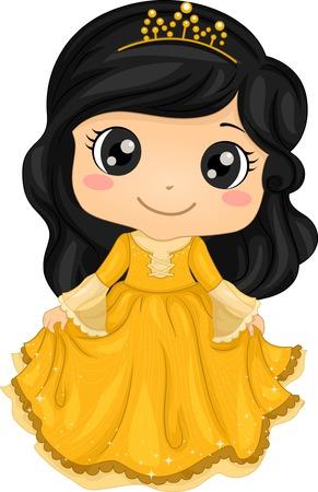 niñas: Ilustración de una niña linda que llevaba un traje de princesa Vectores
