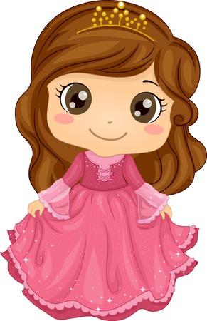 プリンセスの衣装を着て、かわいい女の子のイラスト