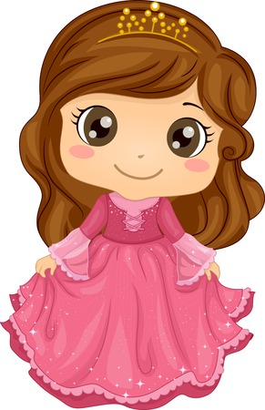 cartoon: Illustration of a Cute Little Girl Wearing a Princess Costume