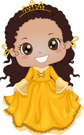 Illustration of a Cute Africanb-American Girl Wearing a Princess Costume Vector