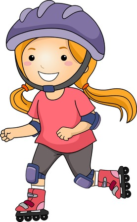 Illustration of a Little Girl Roller Blading Vector