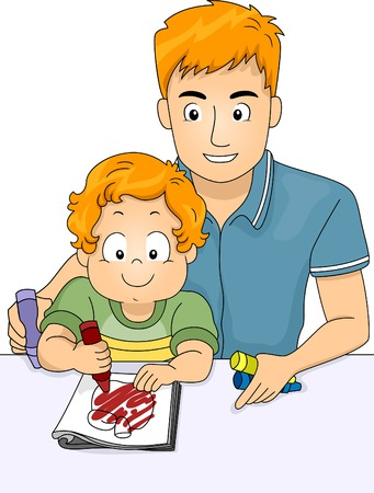 Illustration of a Father Helping His Son Color a Coloring Book Vector