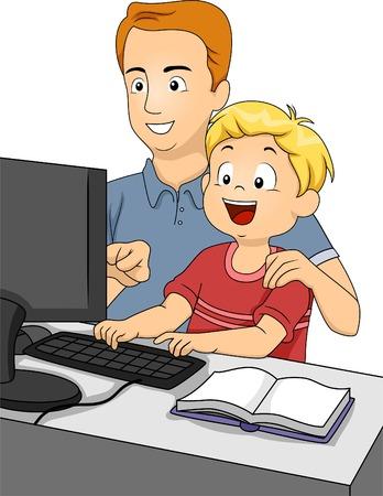 eltern und kind: Illustration von einem Vater Lehre sein Sohn, wie man einen Computer benutzen