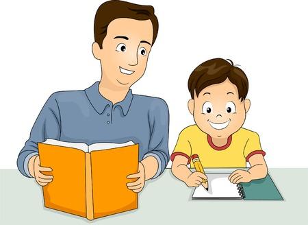 deberes: Ilustración de un Padre ayudando a su respuesta a su Homework