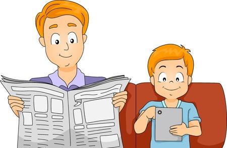 Illustratie van een Vader en Zoon Het laatste nieuws lezen op een krant en een tabletcomputer Stock Illustratie