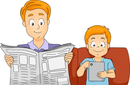 Illustration of a Father and Son Reading the Latest News on a Newspaper and a Computer Tablet Vector
