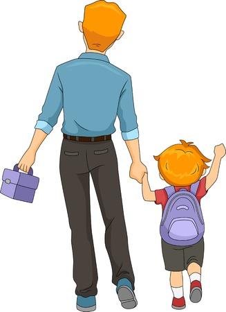 eltern und kind: Illustration von einem Vater und Sohn zu Fu� in die Schule