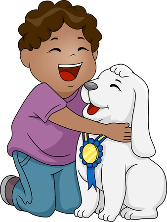 Illustration of an African-American Boy Holding a Dog with a Ribbon Hanging from His Neck Vector
