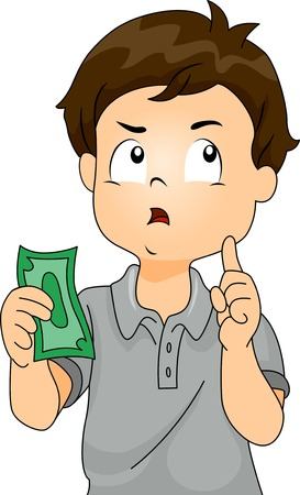 Illustration of a Boy Thinking to Himself While Holding a Paper Bill