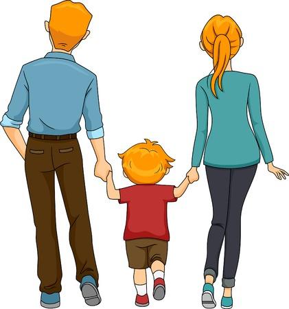 caminar: Vista trasera Ilustraci�n de una familia que recorr�a junta