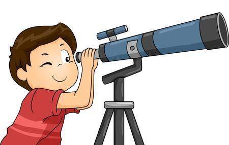 Ilustración de un niño con un telescopio Ilustración de vector