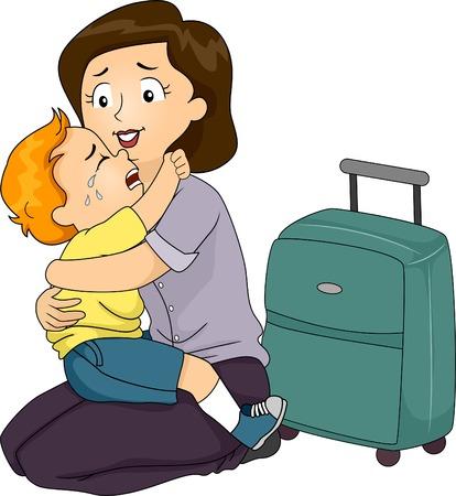 Иллюстрация Мальчик Цепляясь за свою мать, которая собирается уходить
