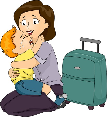 Illustration of a Boy Clinging to His Mother Who is About to Leave Illustration