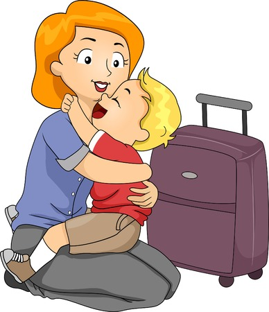 Illustration of a Little Boy Giving His Mother a Hug Before She Leaves for a Trip Vector