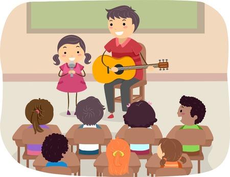 bonhomme allumette: Illustration d'un p�re et sa fille de jouer devant la classe