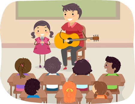 stickman: Illustration of a Father and Daughter Performing in Front of the Class