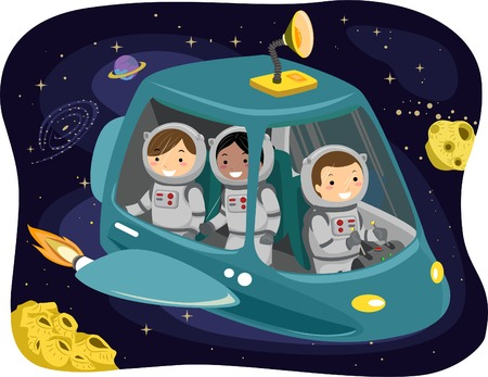 Illustration of Kids Wearing Space Suits Riding a Space Ship Illustration