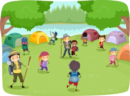 Illustration of Kids Wandering Around a Camp Site Vector