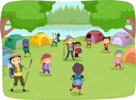 balance beam: Illustration of Kids Wandering Around a Camp Site