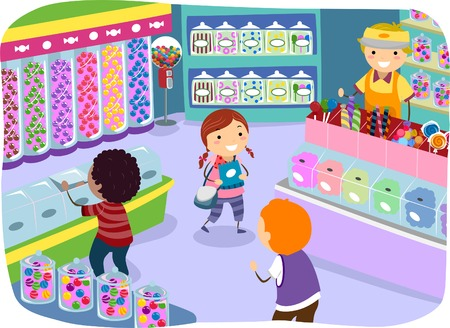 cartoon mensen: Illustratie van Kids Het controleren van de goederen in een snoepwinkel