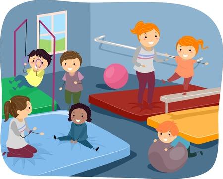 Illustratie van Kids Oefenen Verschillende Gymnastic Routines