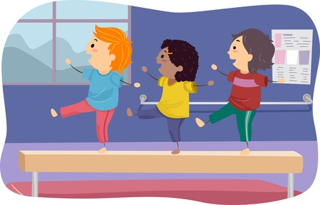 gymnastics girl: Illustration of Kids Standing on a Balance Beam