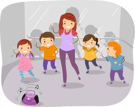 niños bailando: Ilustración de los niños en una clase de baile
