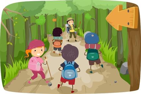 niños saludo: Ilustración de pequeños niños en un viaje de senderismo Vectores
