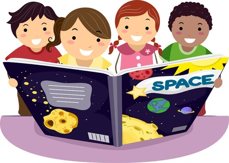 astronomy: Illustration of Kids Learning Astronomy Together