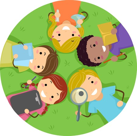 stick children: Illustration of Kids Studying While Lying on the Grass