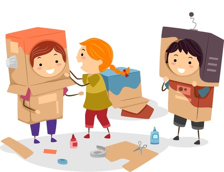 niños reciclando: Ilustración de los niños Hacer improvisados ??Robots que utilizan el cartón Vectores