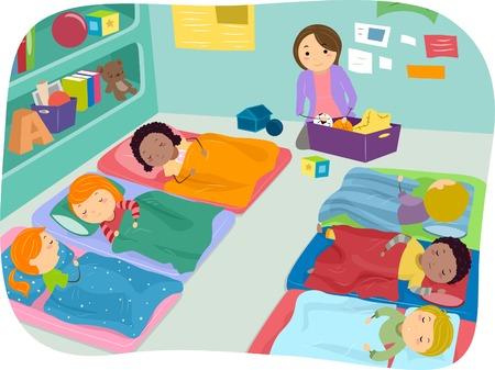 Ilustración de niños en edad preescolar de tomar una siesta