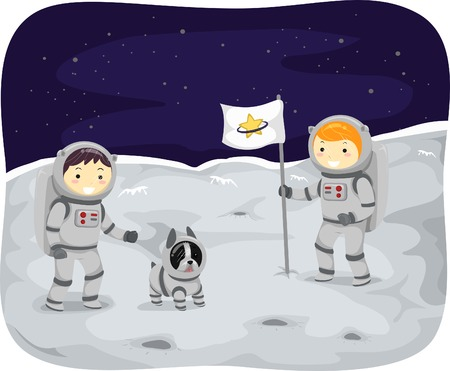 space suit: Illustration of Kids Wearing Space Suits Walking on the Moon