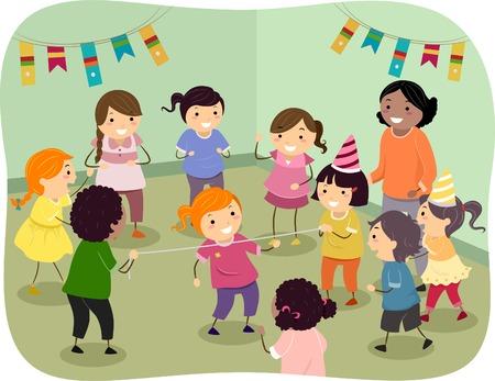 림보 락을 연주 아이의 그림 일러스트