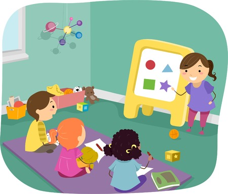 Illustration of Preschool Kids Learning Basic Shapes Vector