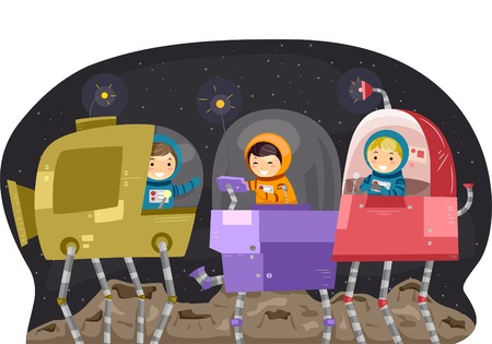 manipulating: Illustration of Kids Manipulating Space Robots Illustration