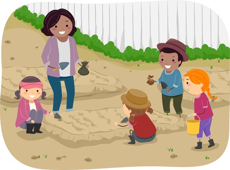 Illustration of a Teacher and Her Students Planting Saplings Together Vector