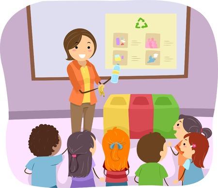 niños reciclando: Ilustración de un profesor que enseña a sus estudiantes ¿Cómo se recicla Vectores