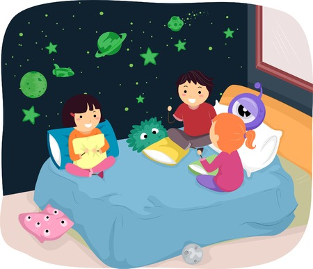 sleepover: Illustration of Kids in a Room with Glow in the Dark Stickers Illustration