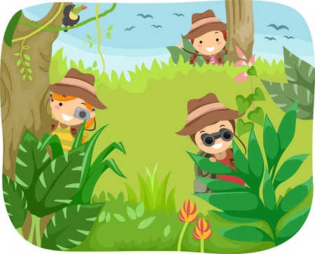 Illustration of Kids on a Jungle Adventure