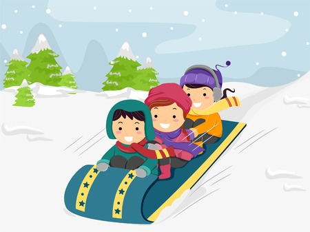 Illustration of Kids Riding on a Snow Sled Vector