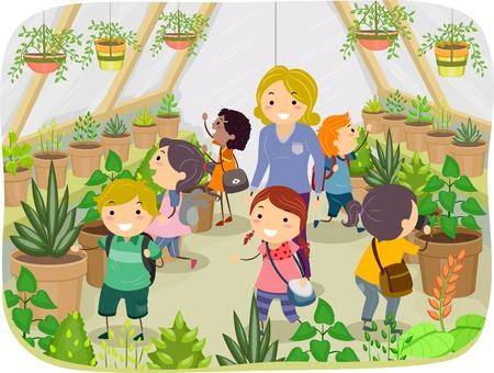 Illustratie van Kids Touring een Greenhouse
