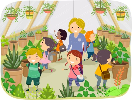 Illustration of Kids Touring a Greenhouse Vector