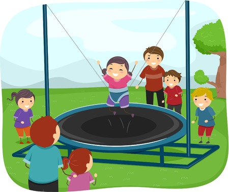 Illustration of Kids Playing with a Trampoline Vector