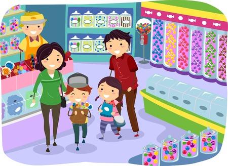 bonhomme allumette: Illustration d'un panier de famille pour Candies