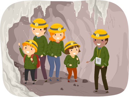 Illustration of a Family on a Cave Tour Vector