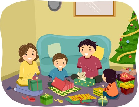 Illustration of a Family Opening Christmas Gifts Together Vector