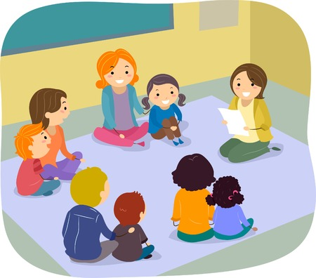 female child: Illustration of Parents and their Children Participating in a Class Activity